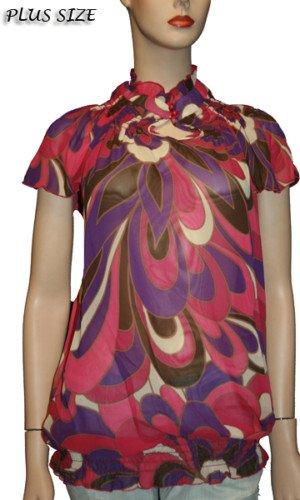 Plus Print Short Sleeve Blouse 1Xl, 2XL, 3XL