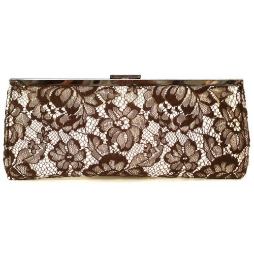 Brown lace embroidered evening clutch w/ floral print