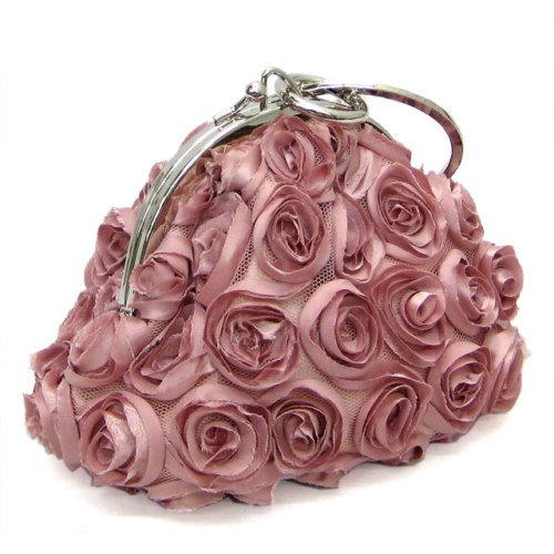 Pink Rose Inspired Evening Bag with Chain Strap