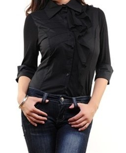 Black Collared Shirt SMALL, LARGE