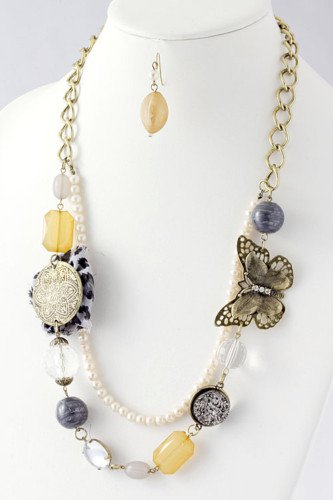 ASSORTED STONE BUTTERFLY NECKLACE.