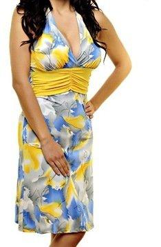Yellow and Blue Print Dress SMALL, MEDIUM, LARGE