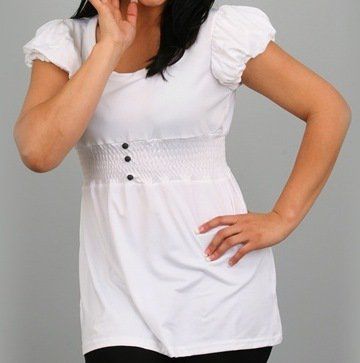 White Blouse with Black Buttons-SMALL, MEDIUM, LARGE