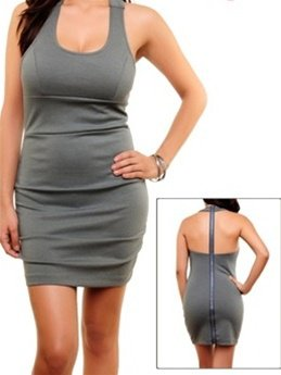 Grey Dress with Zippered Back - SMALL-MEDIUM-LARGE