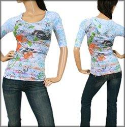 Blue Print Long Sleeve Hoodie Shirt SMALL - MEDIUM - LARGE
