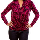 Cowl Neck Fuchsia/Black Blouse-SMALL-MED-LARGE