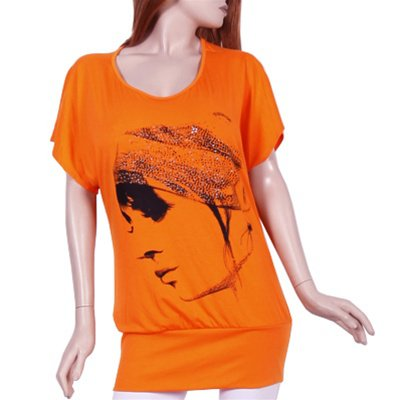 Plus Orange Print Blouse - 1xl - 2xl - 3xl