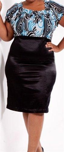 Plus Blue Print Dress - SIZE 2XL