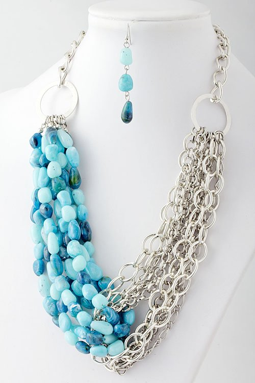 Turqouise Stone & chain link necklace and earring set