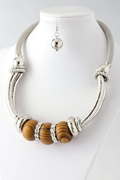 Wooden bead chunky metal necklace  and earring set