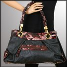 Black Handbag with Accented Abstract Print