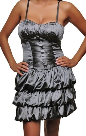 Silver Tiered Fashion Dress with Straps SMALL, MEDIUM, LARGE