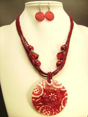 Burgundy Multi-Strand Beaded Necklace with Pendant