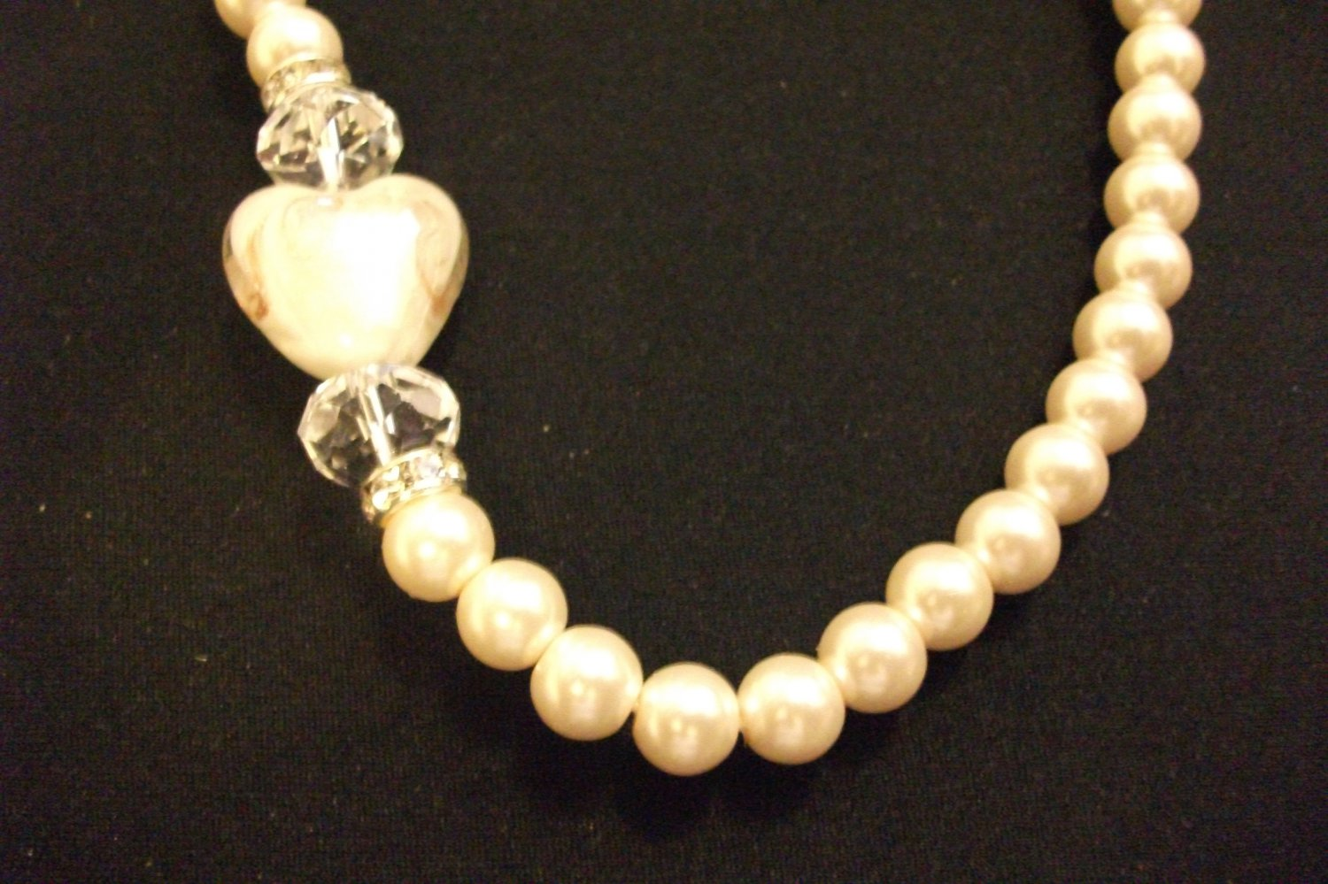White 3 Layer Necklace Set with Pearl Inspired Beads