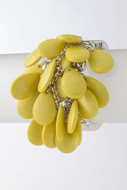 Yellow Teardrop Design Clustered Bracelet