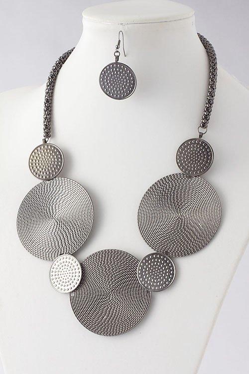 Hematite Textured metal plate necklace