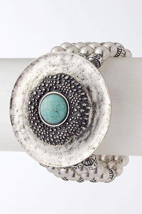 Textured metal stone beaded bracelet