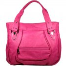 Pink Handbag with Outside Zippered Compartment