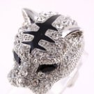 Panther Silver Tone  Metal Casting  Ring - Size 9