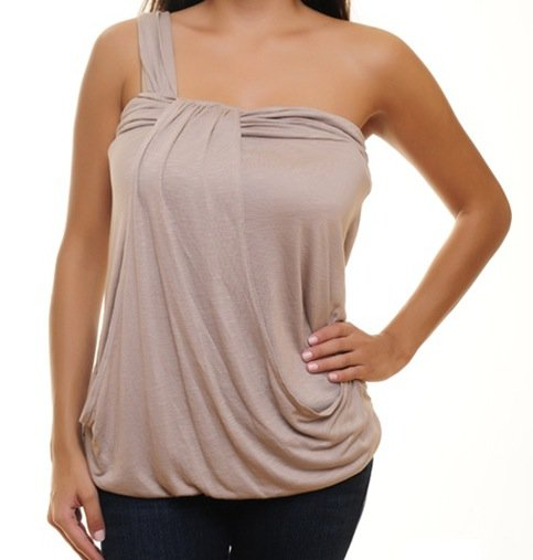 Beige One Strap Blouse SMALL, MEDIUM, LARGE