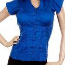 Blue Short Sleeve Pleated Shirt SMALL, MEDIUM, LARGE
