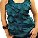 Green Layered Sleeveless Blouse SMALL