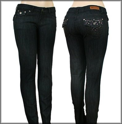 Denim Pants with Pink Embroidery SIZES: 18, 20