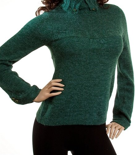 Green Sweater with Buttoned Neck SMALL, MEDIUM, LARGE
