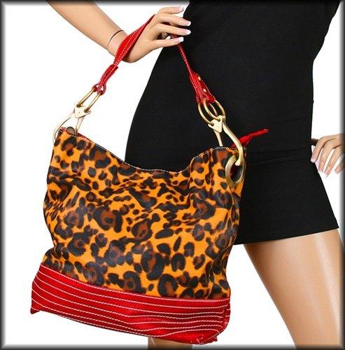 Red Animal Print Handbag