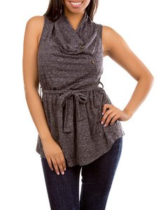 Grey Sleeveless Blouse with Waist Tie MEDIUM, LARGE