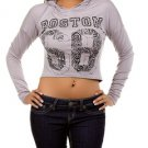 Grey Boston Long Sleeve Rhinstone Top SMALL, MEDIUM, LARGE