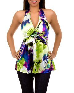 Lime Green/Purple Abstract Blouse SMALL - MEDIUM