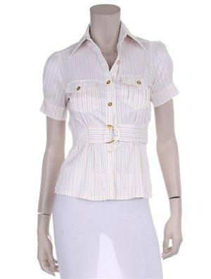 Beige Striped Short Sleeve Shirt 1XL, 2XL, 3XL