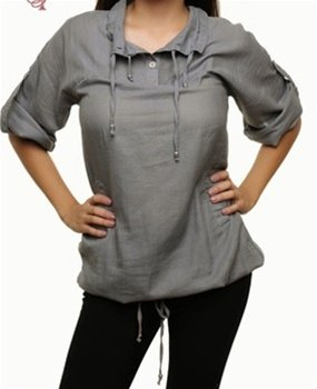 Grey blouse with Drawstring SMALL, MEDIUM, LARGE