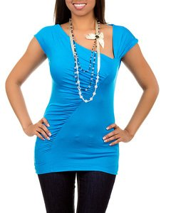 Blue Short Sleeve Blouse with Necklace SMALL, MEDIUM, LARGE