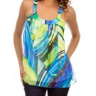 Sheer Lime Blue Print Sleeveless Blouse SMALL, MEDIUM, LARGE