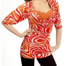 Plus Orange Cowl Neck Blouse 1XL, 2XL, 3XL