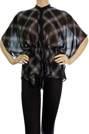 Plus Black Sheer Blouse with Plaid Print 2XL, 3XL