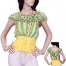 Green Striped Corset Blouse SMALL - MEDIUM - LARGE