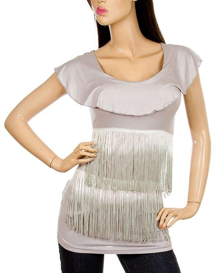 Grey Short Sleeve Tasseled Blouse - SIZE S/M - M/L