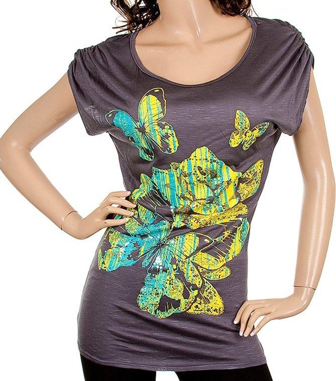Grey short sleeve floral print shirt SMALL-MEDIUM-LARGE