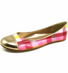 Pink Round Toe Slip On Checkered Flats - SIZE: 6 -7 -8- 9