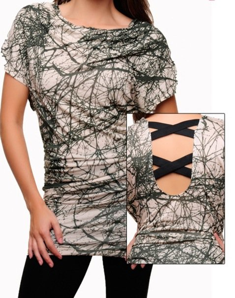 Olive and Cream Abstract Blouse SMALL - MEDIUM - LARGE