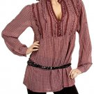 Wine Checkered Blouse 1XL - 2XL