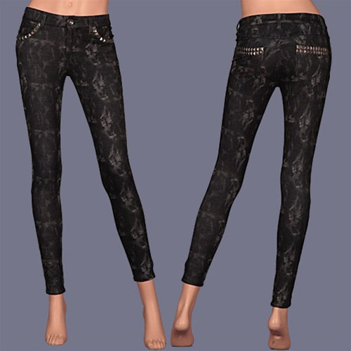 Black Print Jeans with Studded Pockets and Belt Loop SMALL, MEDIUM, LARGE