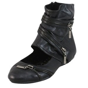 Black Ankle High Flats with side zipper closure  6.5
