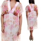 V-Neck Open Sleeve Floral Print Empire Waist Dress SMALL - LARGE
