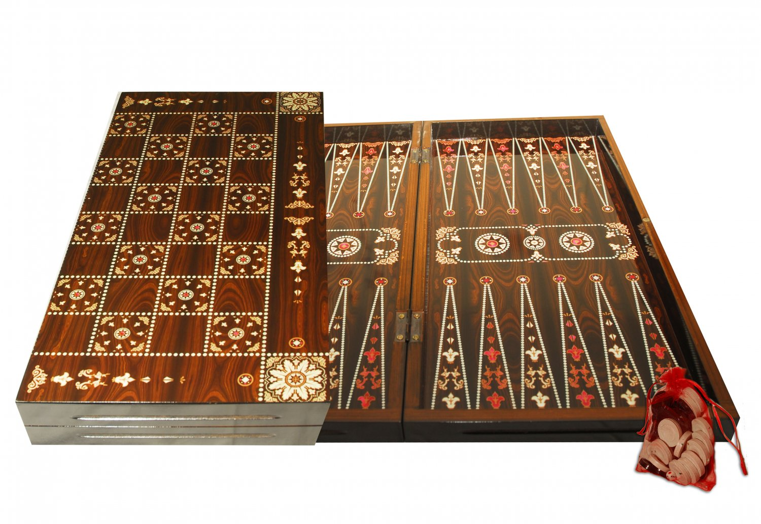 Oriental Mother of Pearl Backgammon/Chess Handmade Walnut Wood Set Large NEW