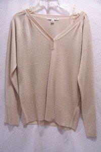 CAROLYN TAYLOR Beige Button V-Neck Knit Sweater SZ S,NI