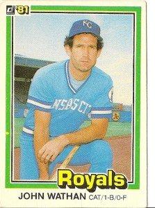 """JOHN WATHAN """"Kansas City Royals"""" 1981 #221 Donruss Baseball Card"""